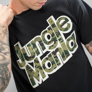 Jungle Mania Camo Design on Black Tee