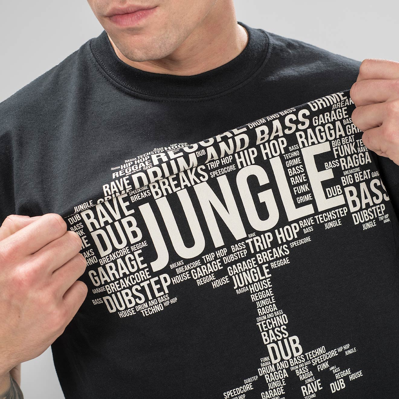 Model in Black Jungle Roots T-Shirt by Junglist Network
