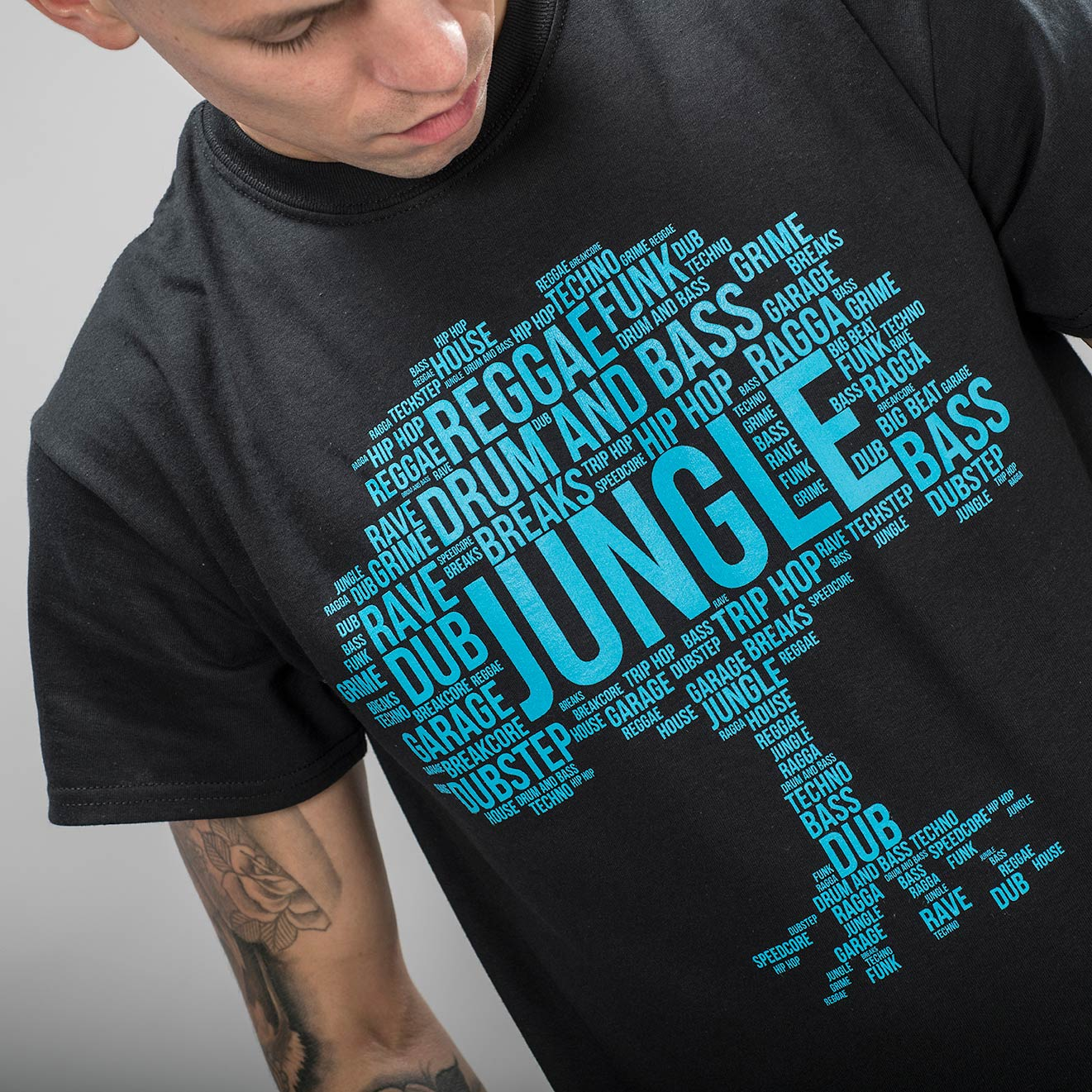 Black Junglist Roots Tee design close up