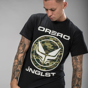 Dread Recordings Black T-Shirt with front Camo Print