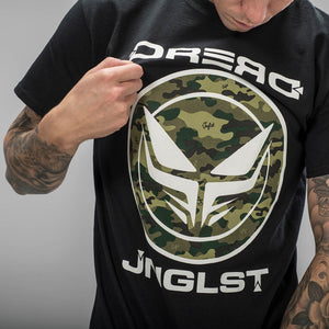 Dread Records Black T-Shirt with Junglist Camo Print