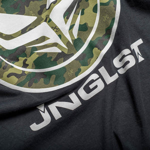 Jnglst Clothing and Dread Recordings T-Shirt Close up