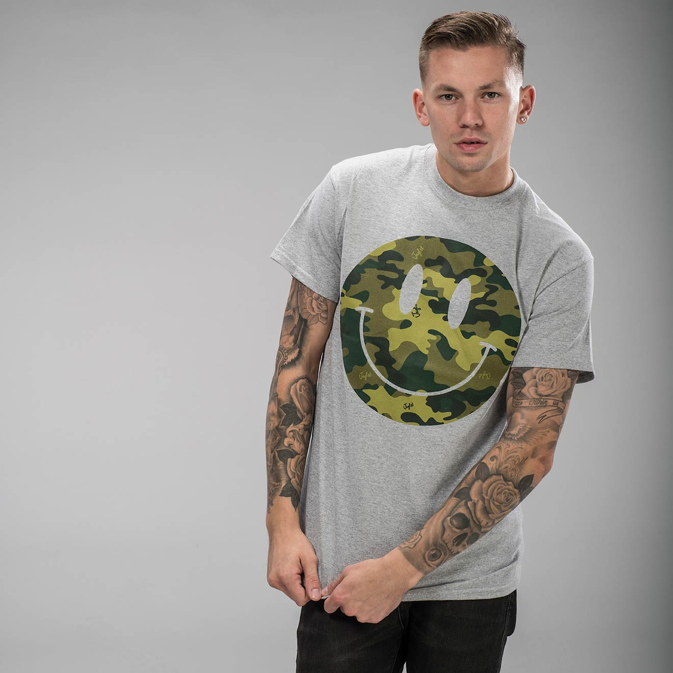 Grey T-Shirt with Camo Smiley Raver Clothing