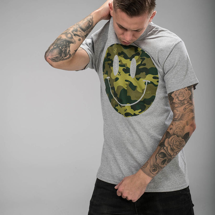 Camo Smiley Grey T-Shirt
