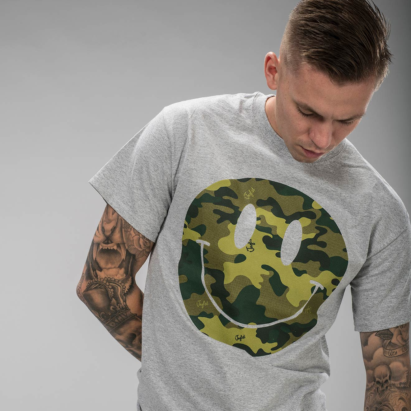 Camo Rave Smiley T Shirt