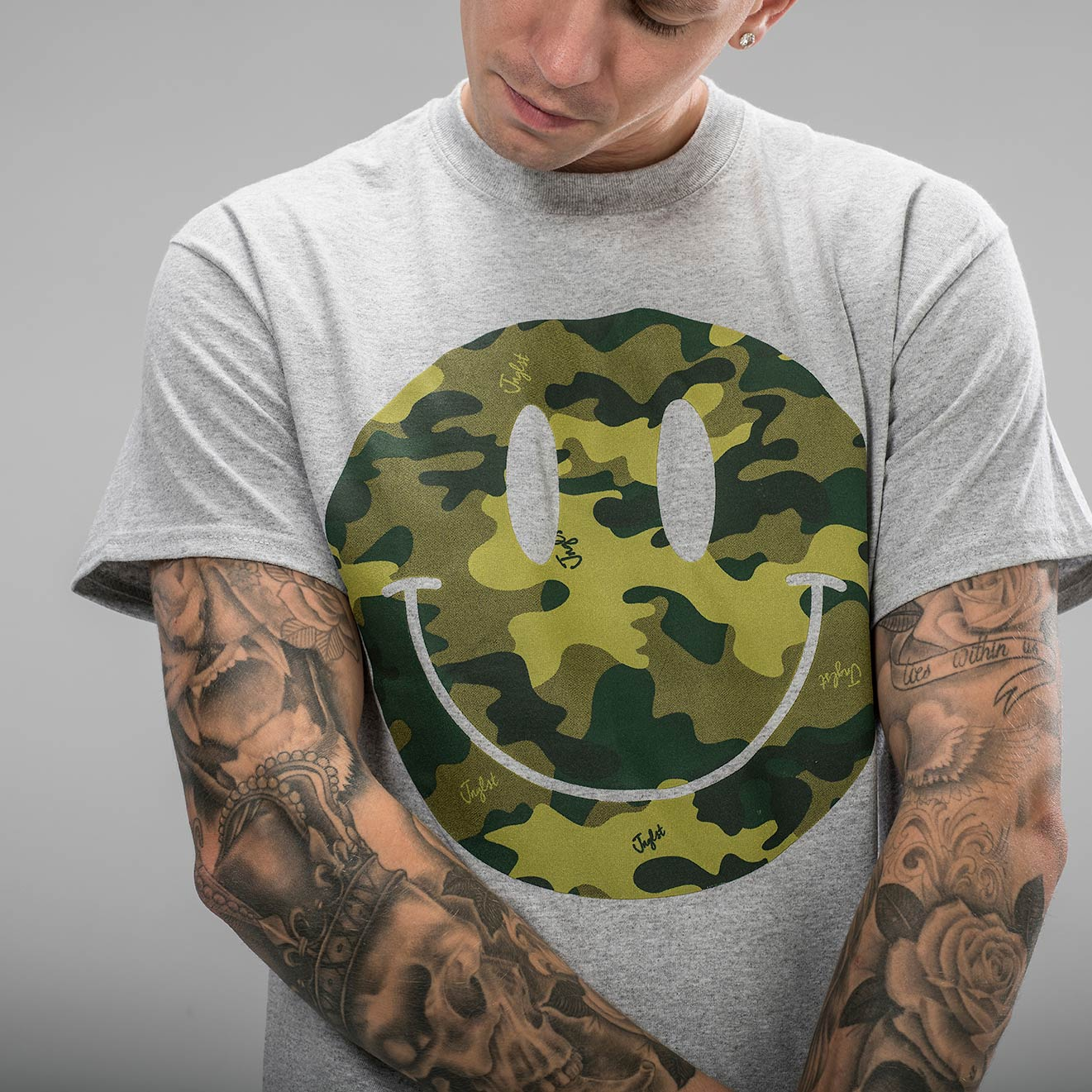 Grey Rave T Shirt with Camo Smiley Design