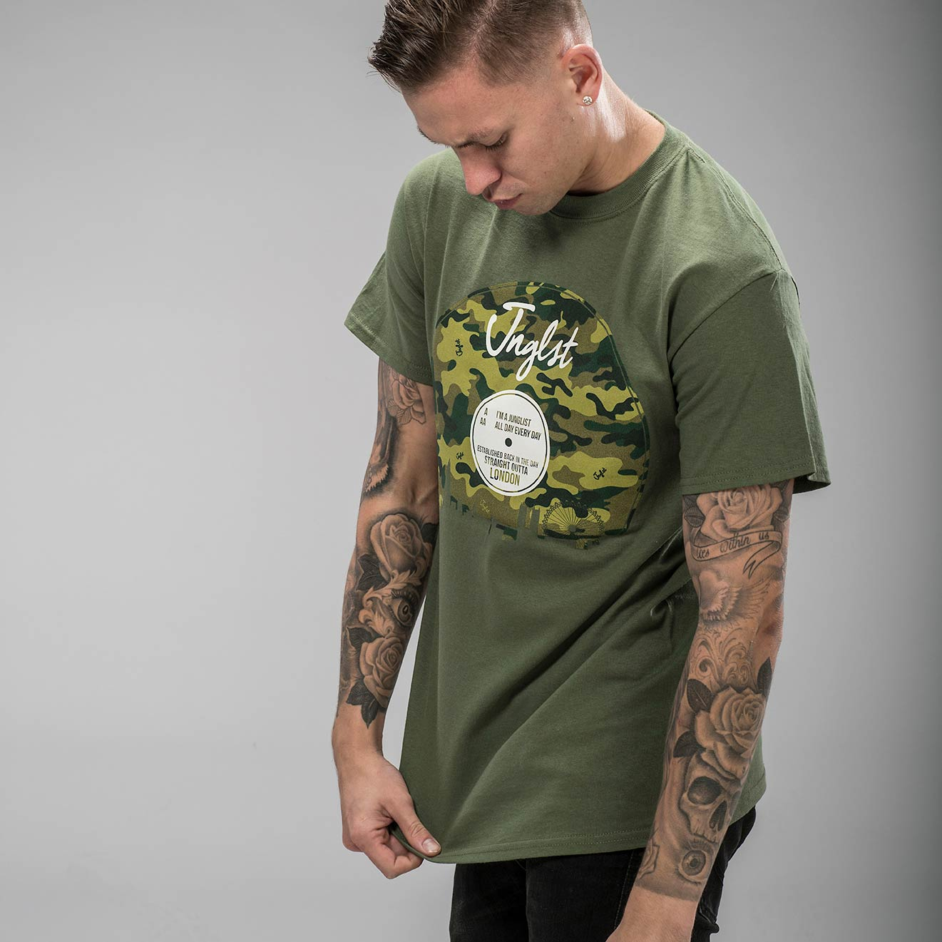 Military Green Junglist London Vinyl T-Shirt