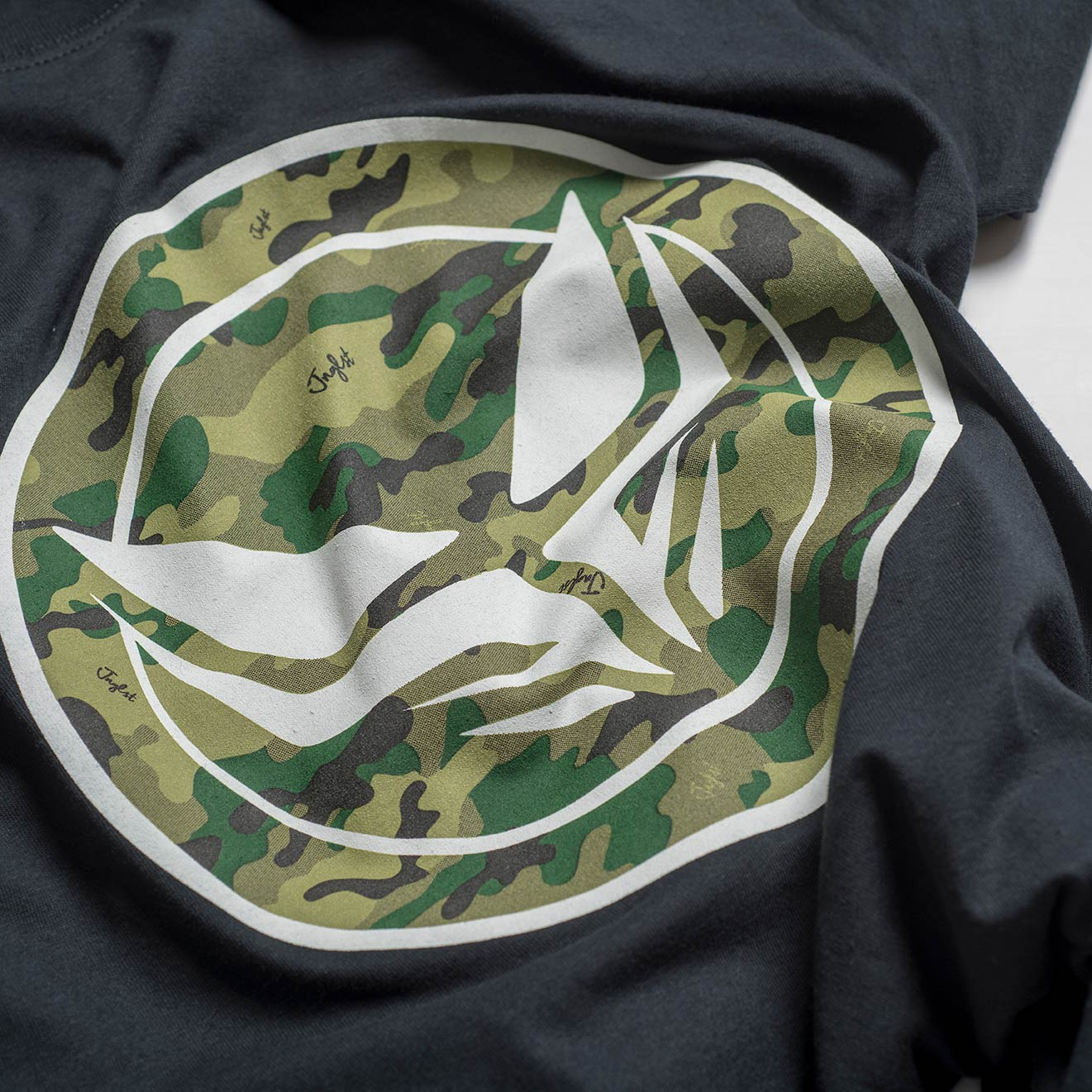 Dread Junglist Camo Logo on Black Tee