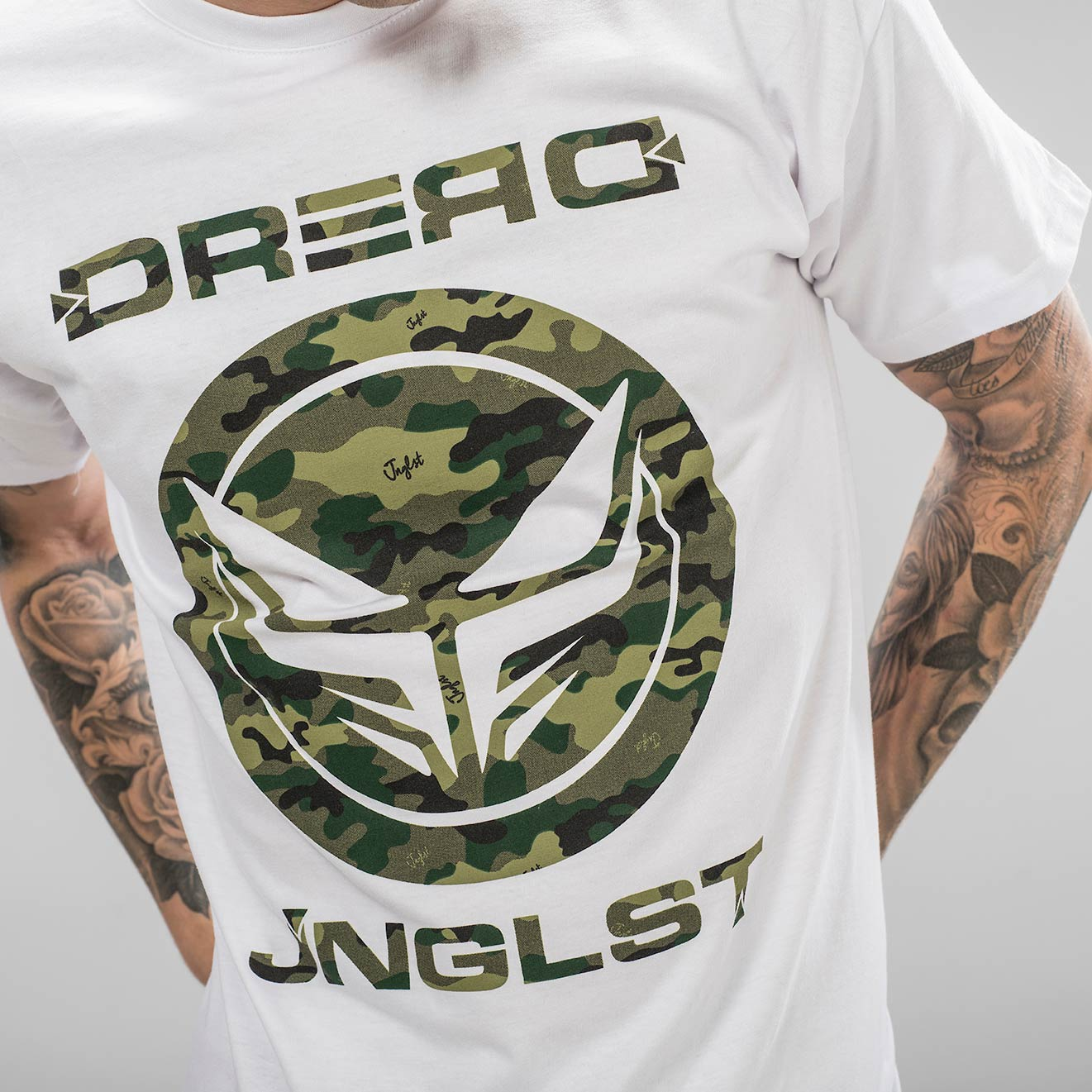 Dread Junglist Collab White T-Shirt from the Front