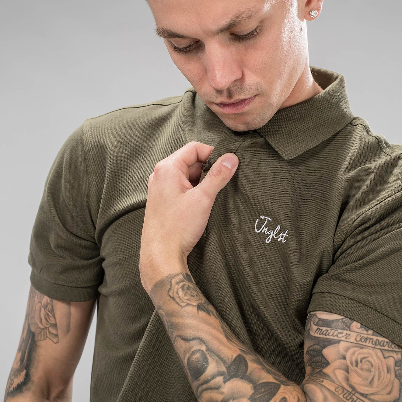 Embroidered Junglist Polo Shirt in Olive