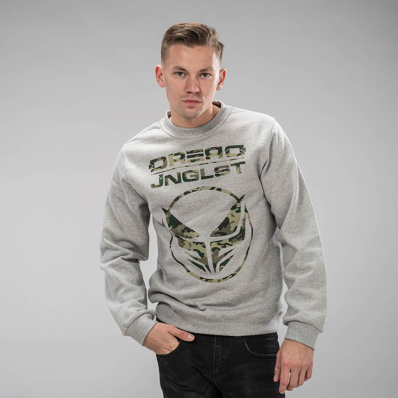 Dread Recordings Camo Sweatshirt by Jnglst Clothing
