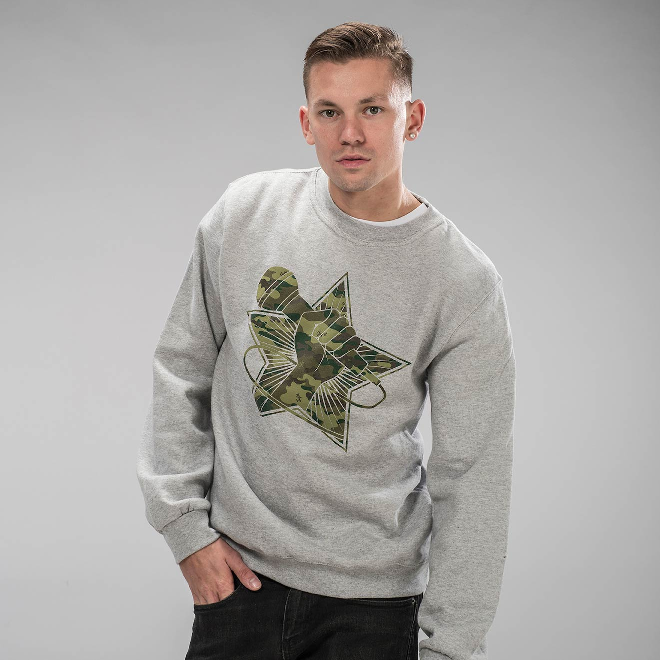 Junglist Revolution Camo Sweatshirt on Model