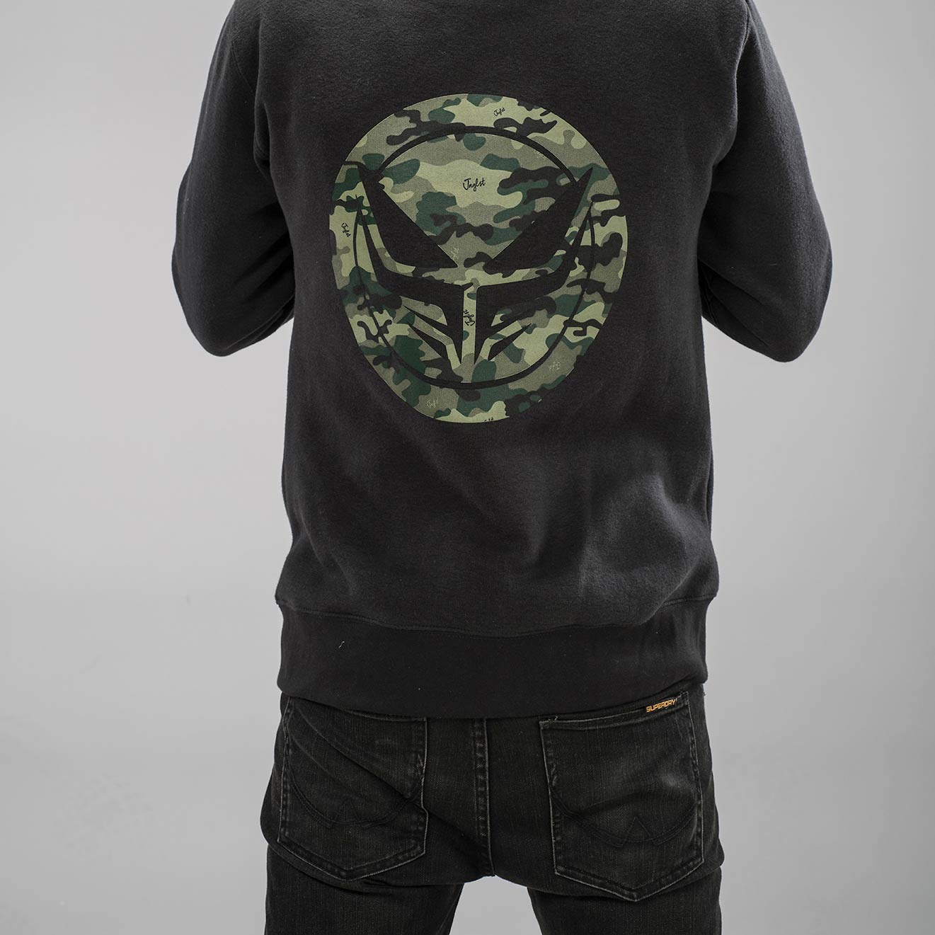 Camo Dread Logo on the Back of our Collab Hoodie for Junglists