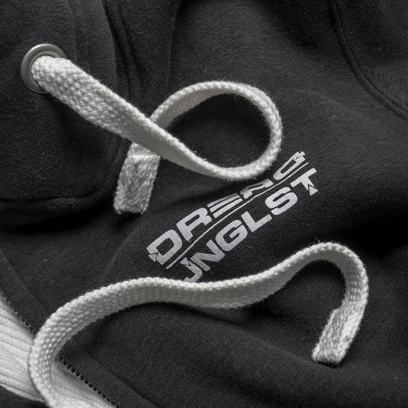 Dread Jnglst Logo Close up on Dread Clothing Hoodie