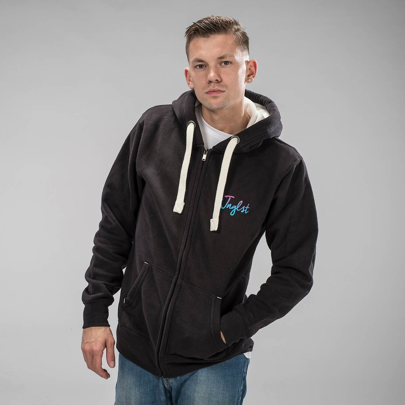 Jnglst Fader Hoodie from the front from Junglist Clothing