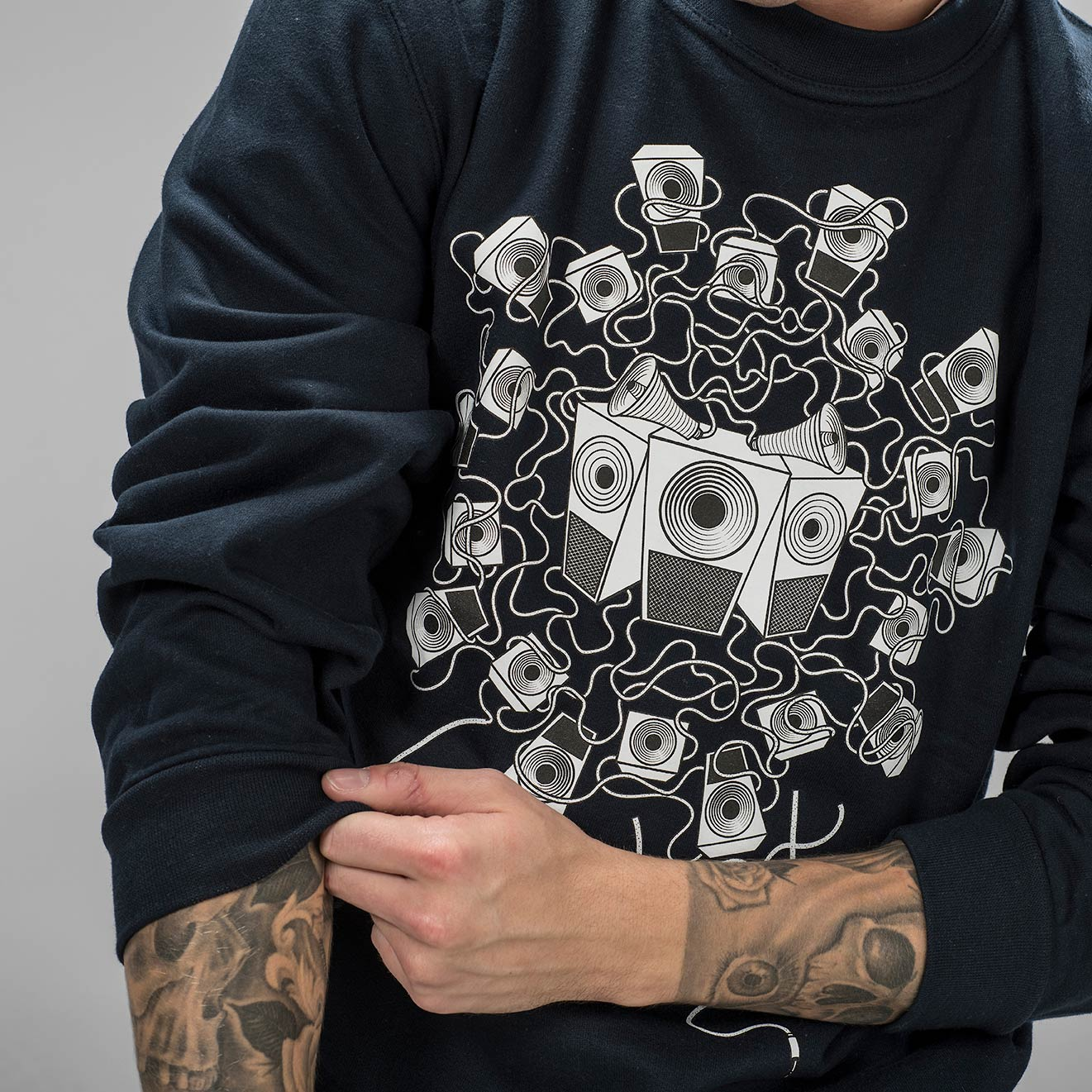 Navy Soundsystem Sweatshirt print
