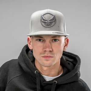 Model wearing Grey Snapback Dread Cap