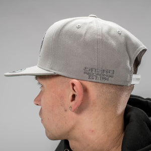 Dread Recordings Side detail on Grey Snapback