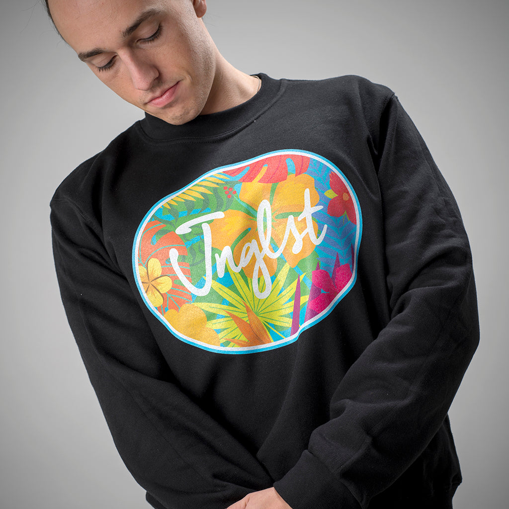 Jnglst Clothing Black Hawaiian Flowers Sweatshirt