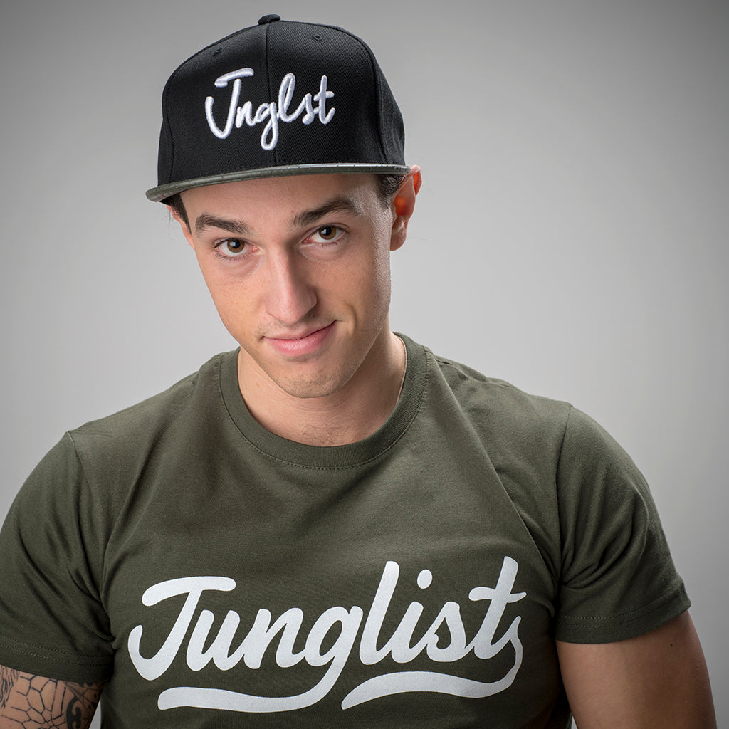 Olive Perforated Visor on Black Snapback with Junglist Logo