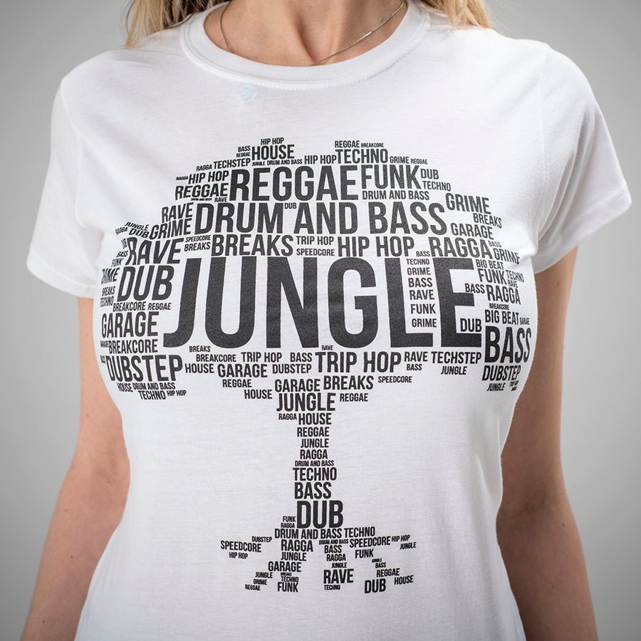 Model Wearing Junglist White Roots Tee for Women