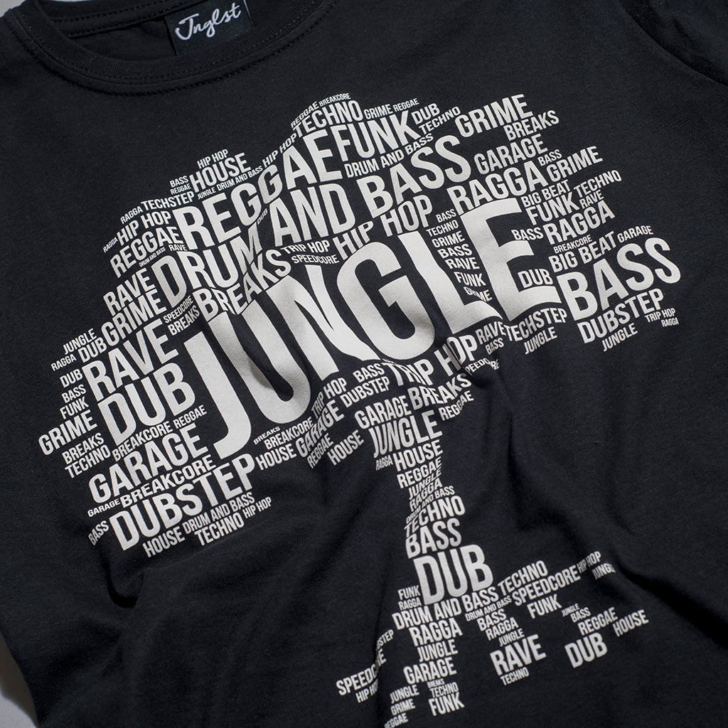 Jungle Roots design by Junglist Network Screenprinted on Black