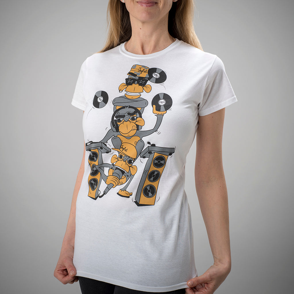 3 Monkeys White Womens Junglist Tee