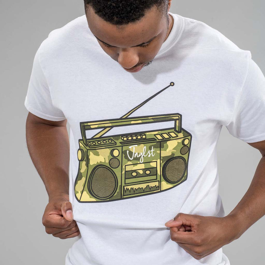 White Junglist Ghetto Blaster T-Shirt
