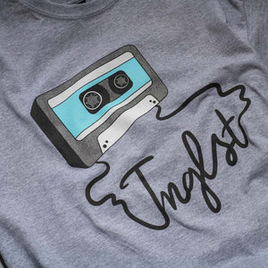 Grey Mixtape T-Shirt from Jnglst Clothing Close up