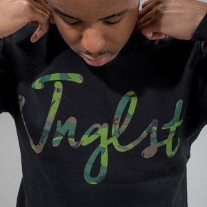 Jnglst Camo Sweatshirt on Model mid shot
