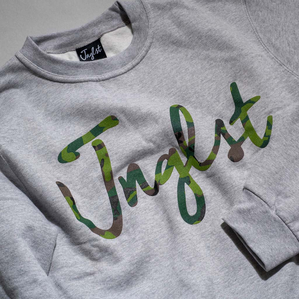Junglist Script Camo Sweatshirt close up