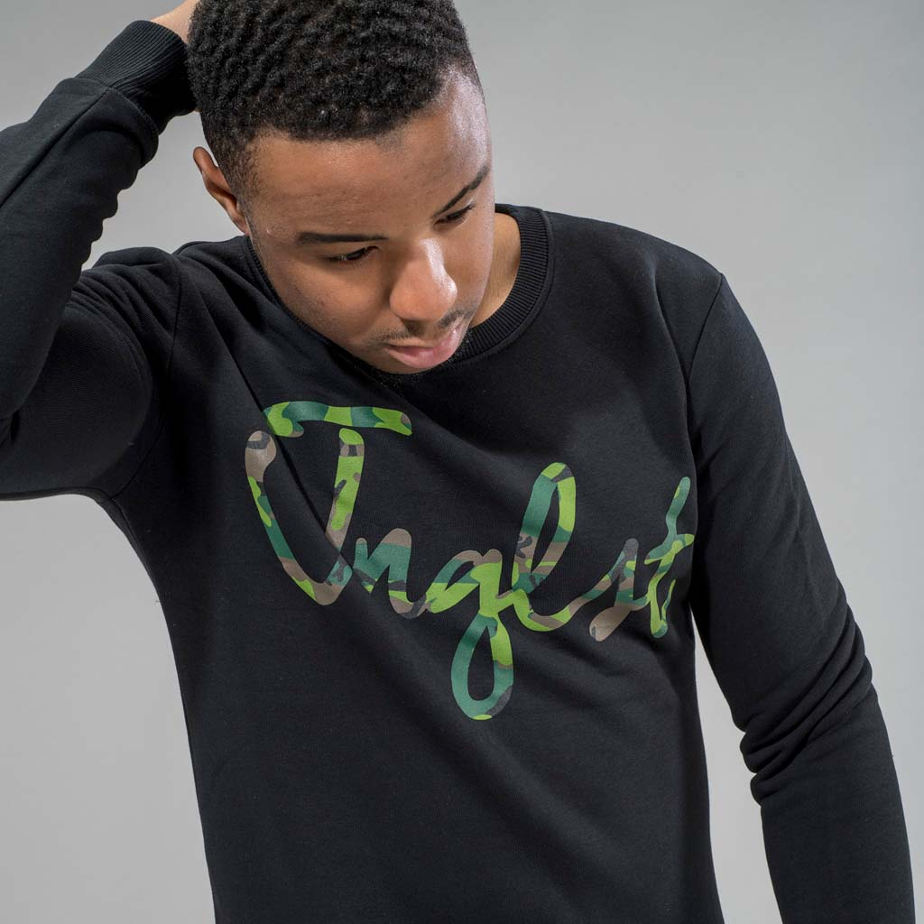 Junglist Black Sweatshirt with Camo Logo
