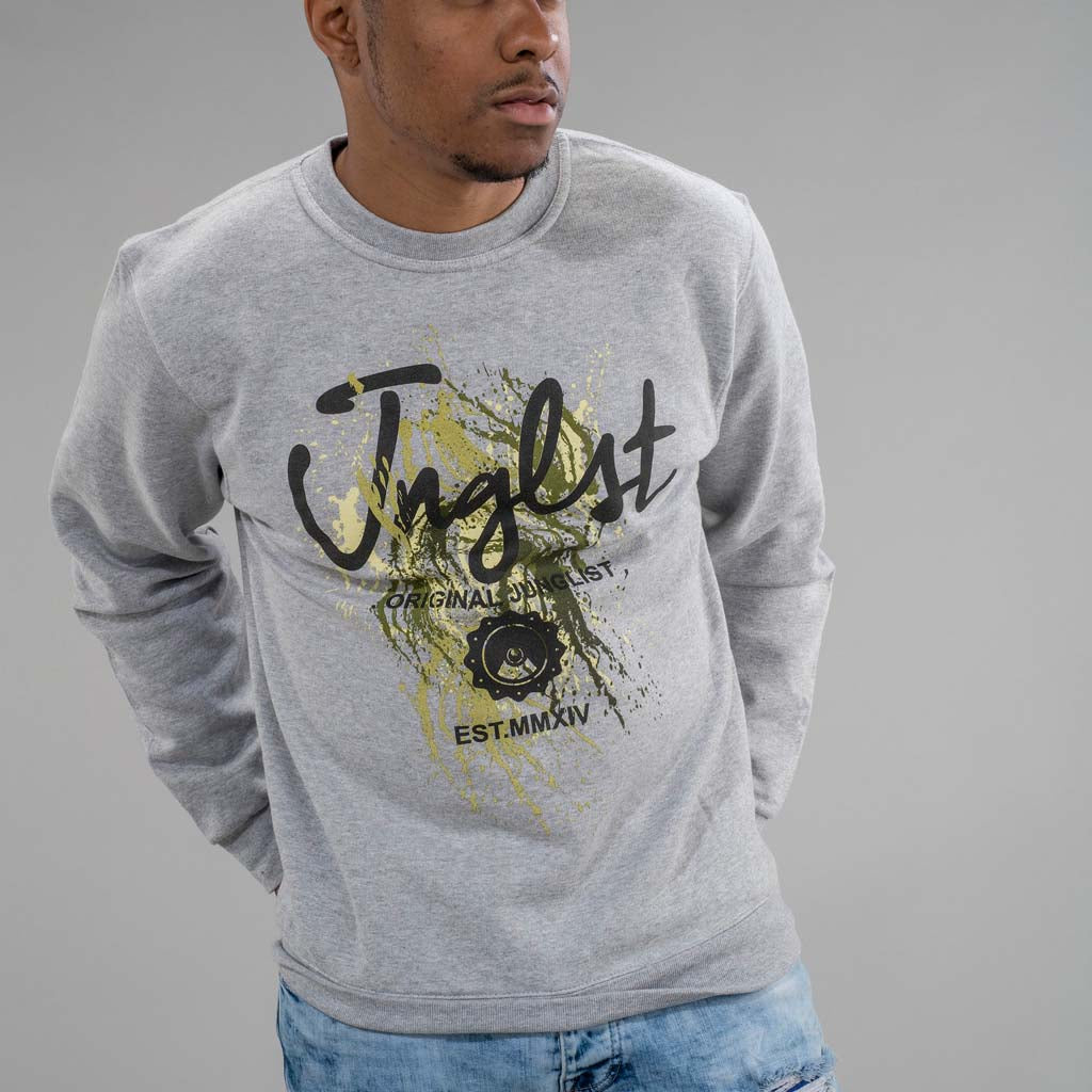 Grey Paint Splatter Junglist Sweatshirt worn by model