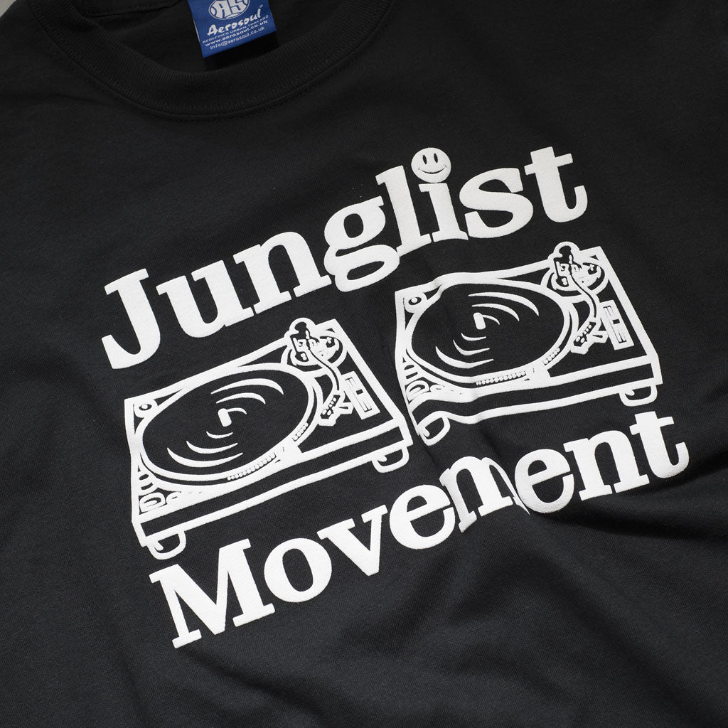 Junglist Movement Black T-Shirt Close up