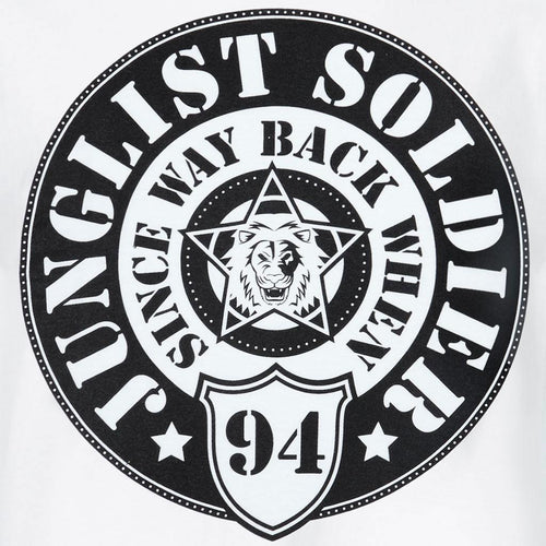 Close up White Junglist Soldier tee