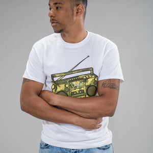 White Junglist Ghetto Blaster Tee for Ravers