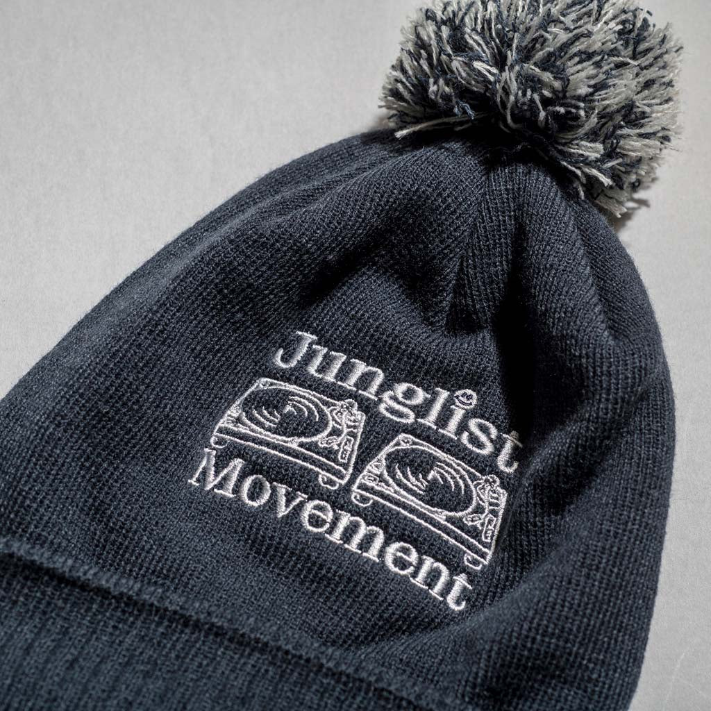 French Navy Junglist Movement Beanie Close up with Pom Pom's