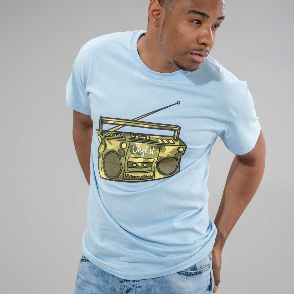 Light Blue Jnglst Ghetto Blaster T-Shirt
