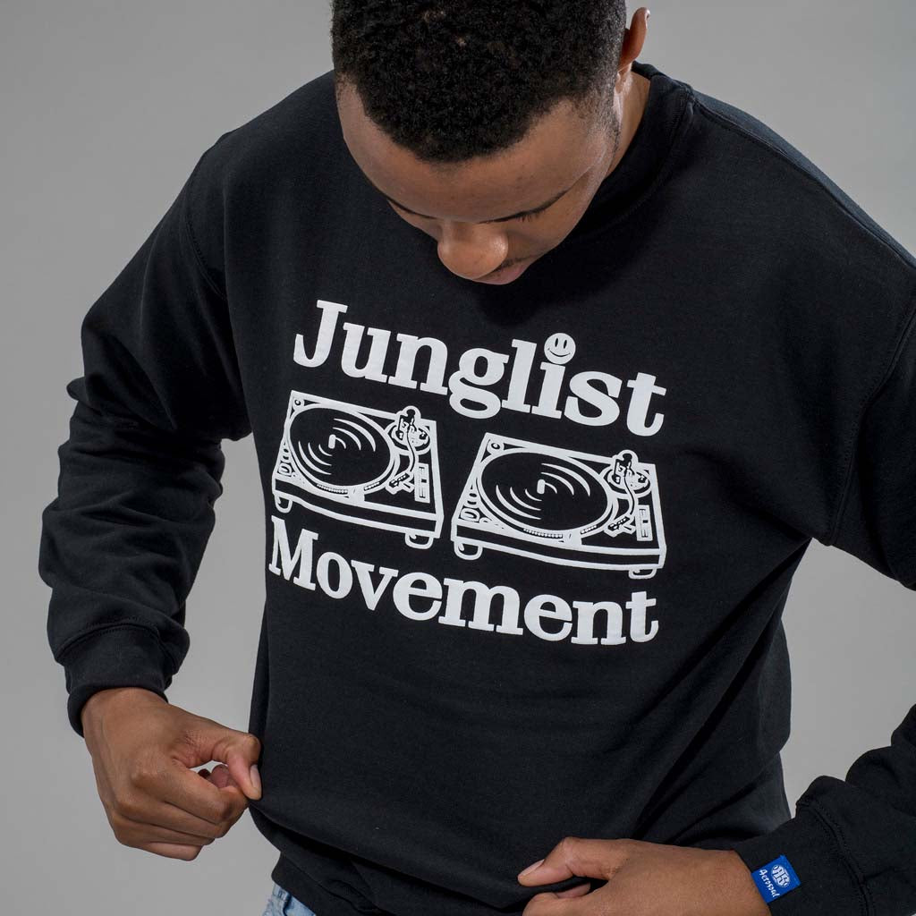 Junglist Movement Black Sweatshirt with model