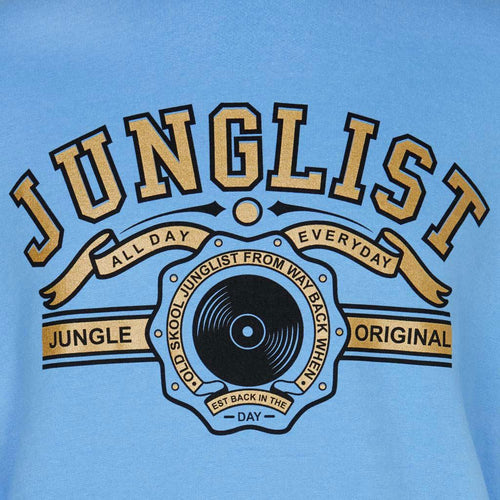 close up original junglist blue sweatshirt