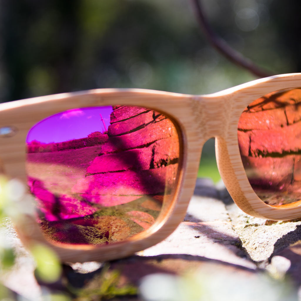 Pink lens Bamboo Sunglasses