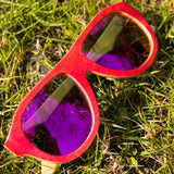 Jnglst Pink Bamboo Sunglasses with pink lenses