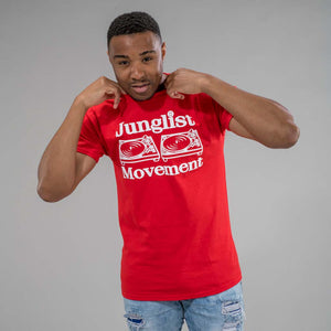 Model wearing Junglist Movement Red T-Shirt