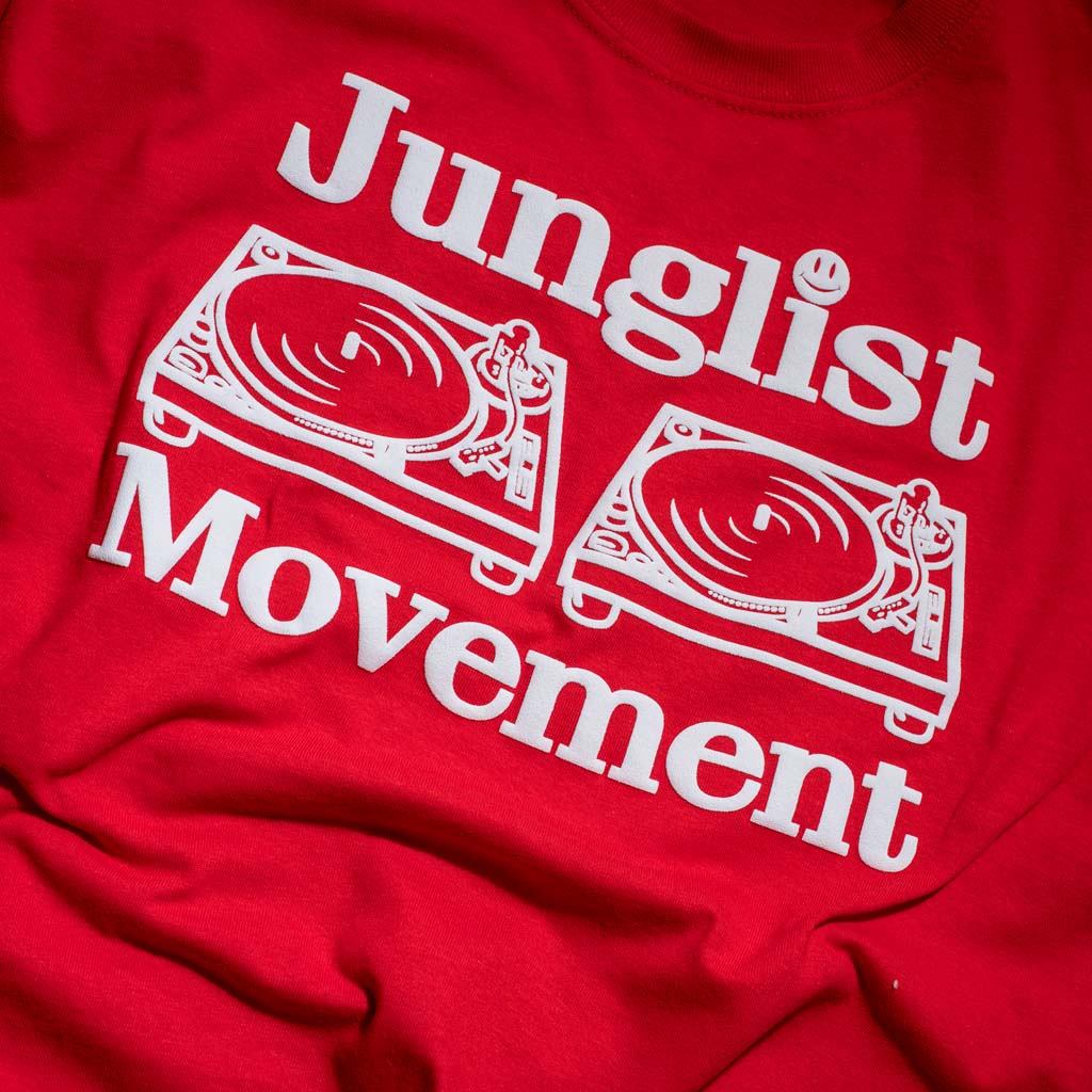 Close up of a Classic Red Junglist Movement Tee