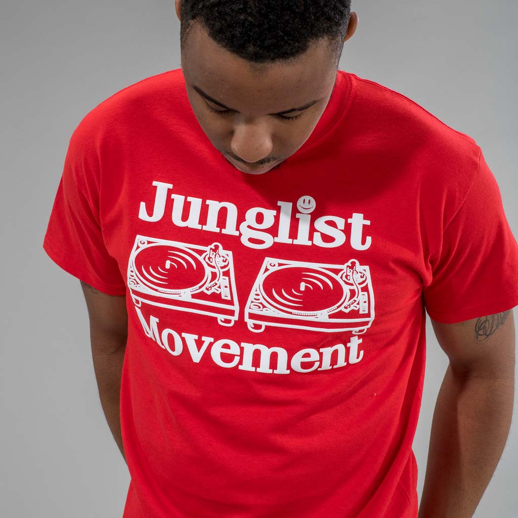 Junglist Movement Red T-Shirt from the front