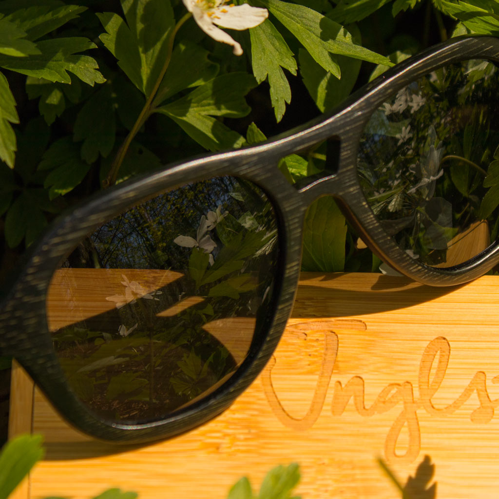 Dark Bamboo Jnglst Sunglasses with grey lenses