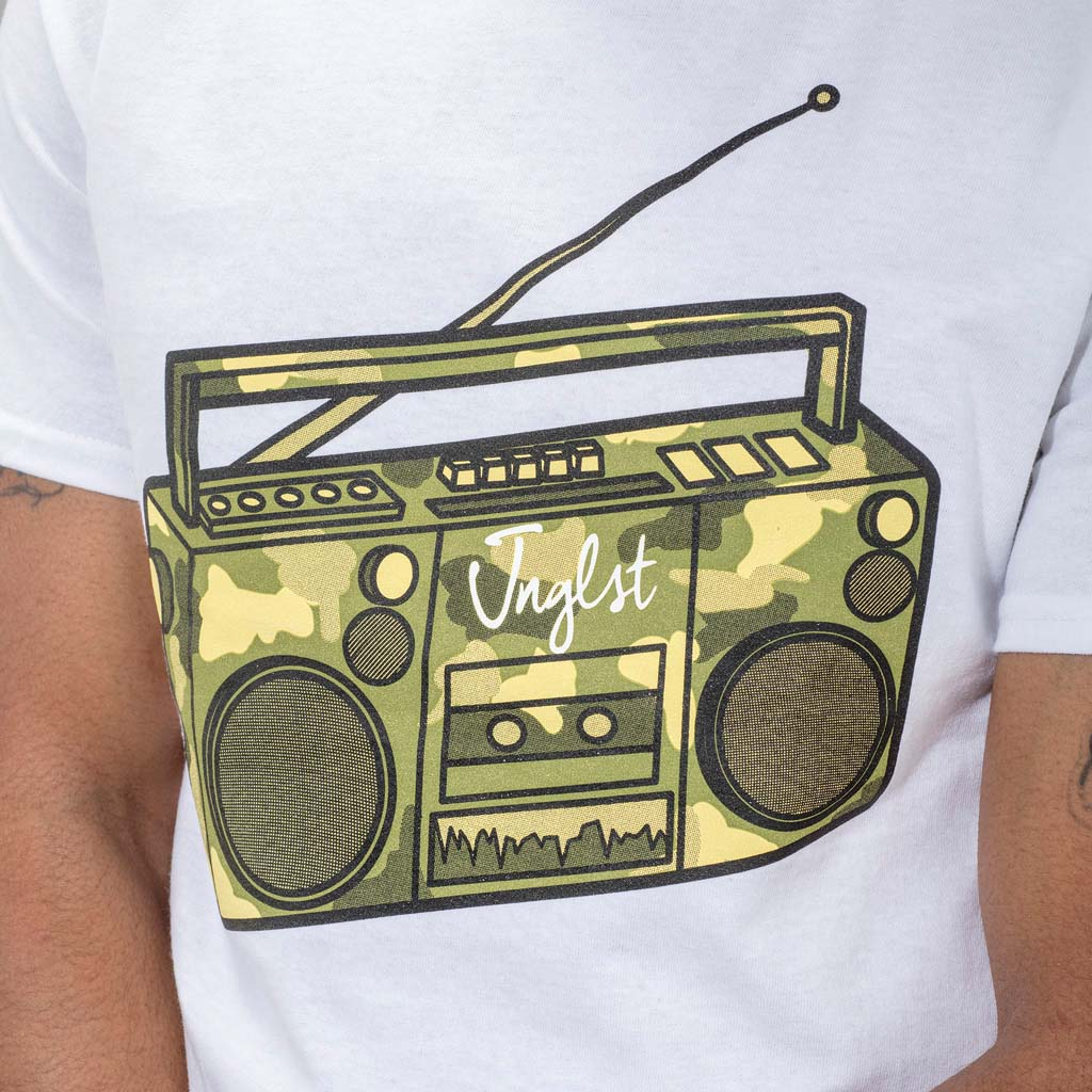 White Ghetto Blaster T-Shirt Mid Shot from front
