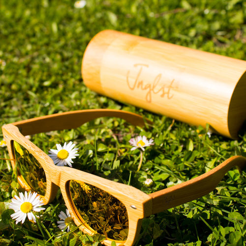 Jnglst Bamboo Rayban Sunglasses with orange lenses