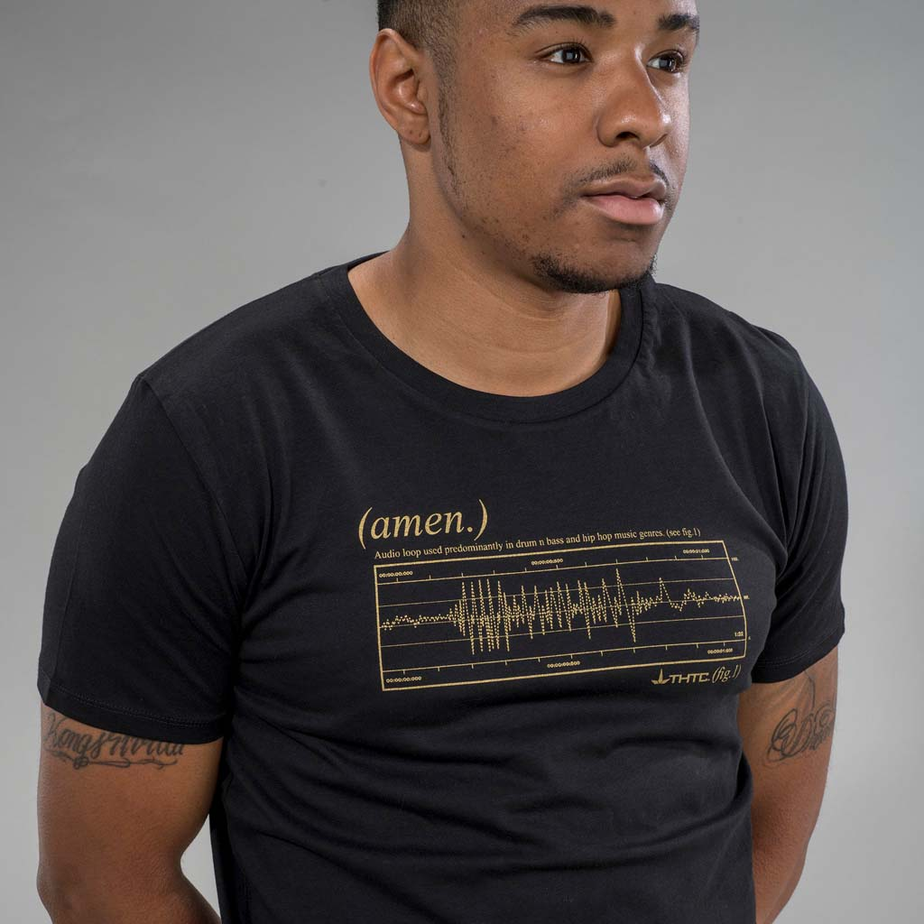 Black T-Shirt with Gold Amen Break Print