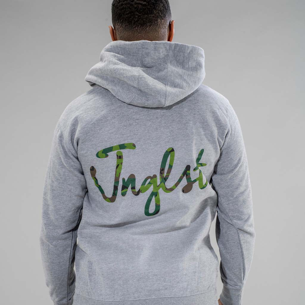 Junglist Clothing Script Hoodie Back Print in Camo
